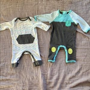 Two Rompers lime and light blue footless